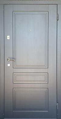 Входные двери Гранд графит/белое дерево