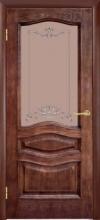 Двери Леона, патина орех, Витраж